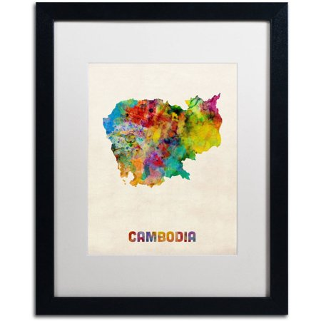 Trademark Fine Art 'Cambodia Watercolor Map' Canvas Art by Michael Tompsett, White Matte, Black Frame