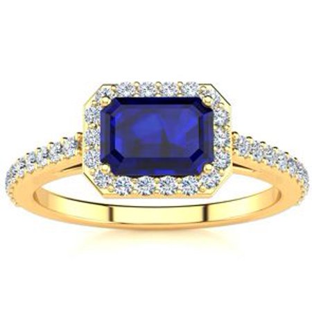 1 1/2 Carat Emerald Shape Sapphire and Halo Diamond Ring In 14 Karat Yellow Gold Size