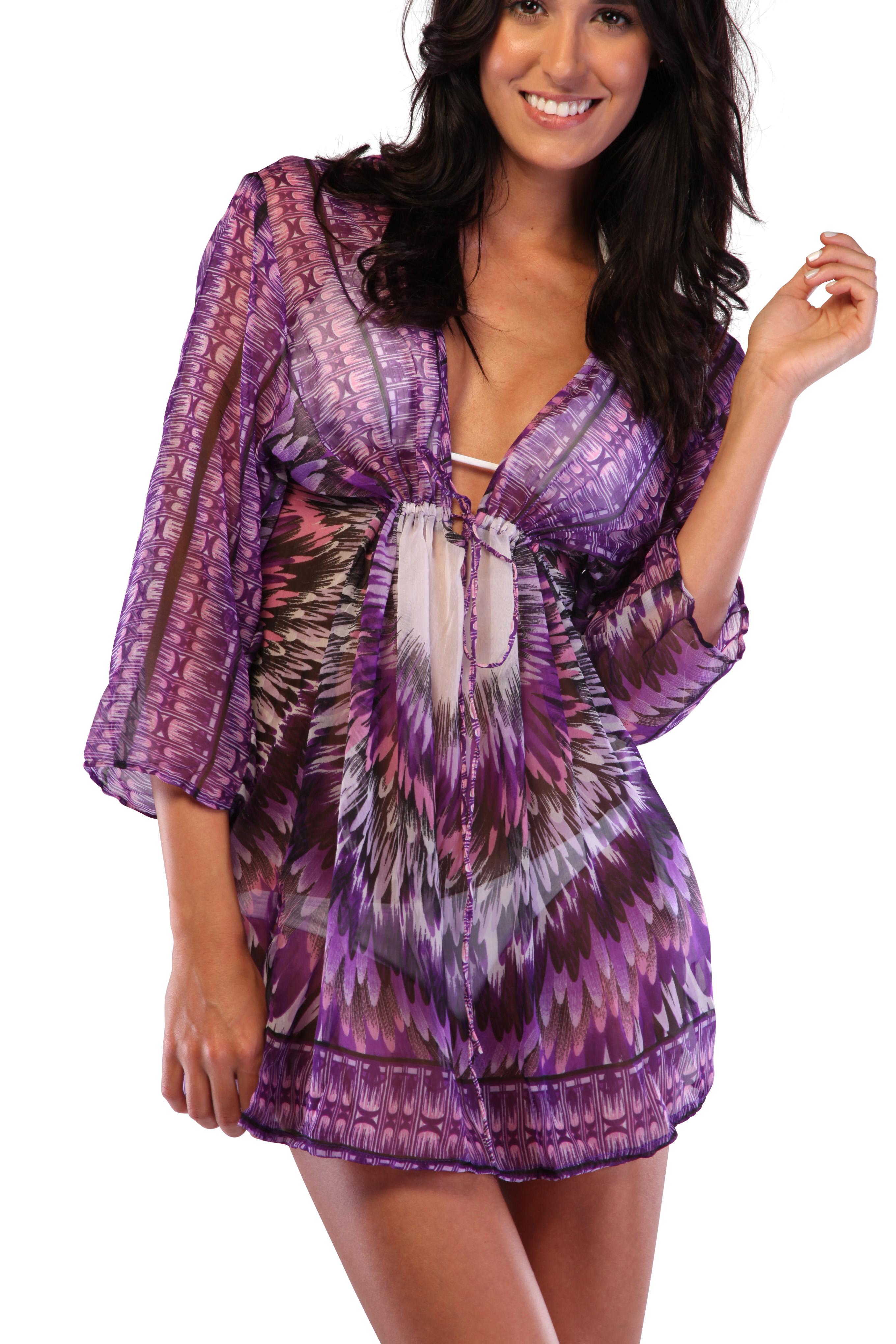 Ingear Beach Cover Up Drawstring Poncho Summer Fashion Print Tunic Top Beachwear