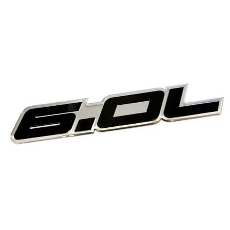6.0L Liter in BLACK on SILVER Highly Polished Aluminum Car Truck Engine Swap Nameplate Badge Logo Emblem for Pontiac GTO LS2 G8 L76 GMC Yukon Sierra Pick Up Chevy Tahoe Suburban Truck GMC Vortec