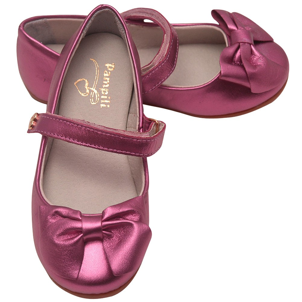 Pampili Girls Fuchsia Glossy Shine Bow Attached Mary Jane Flats 11-3 Kids