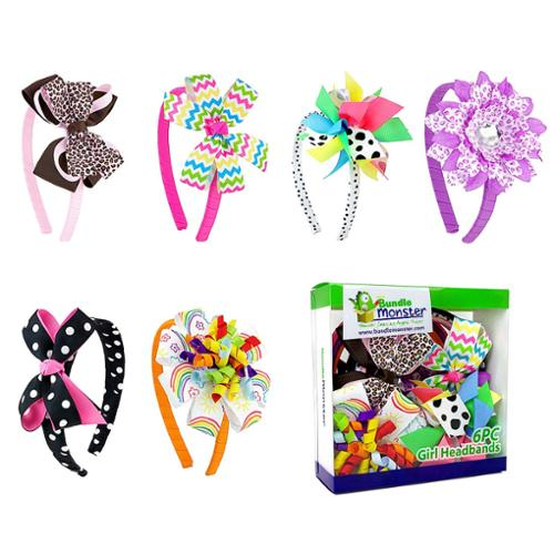Bundle Monster Interchangeable 3in1 Ribbon Baby Hair Clips Headbands Combo-Set 1
