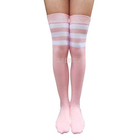 5aaf20cba05 AM Landen - AM Landen Combed Cotton Over-Knee High Stripe Socks(Baby Pink)  - Walmart.com