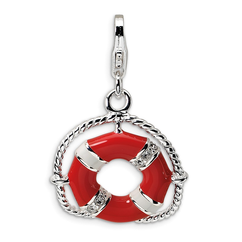 FB Jewels Solid Sterling Silver Enameled Crystal Cat W//Lobster Clasp Charm