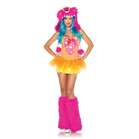 Leg Avenue Women's 2 Piece Shaggy Shelly Monster Costume, Pink/Yellow, Small/Medium