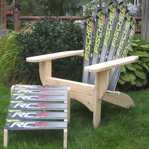 Ski Chair Snow Solid Wood Adirondack Chair with Ottoman