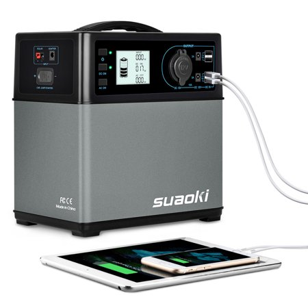 Suaoki 400Wh Portable Solar Generator Power Supply Energy Storage Lithium ion Battery Charged by Solar/AC Outlet/Cars with 300W AC Pure Sine Wave Inverter