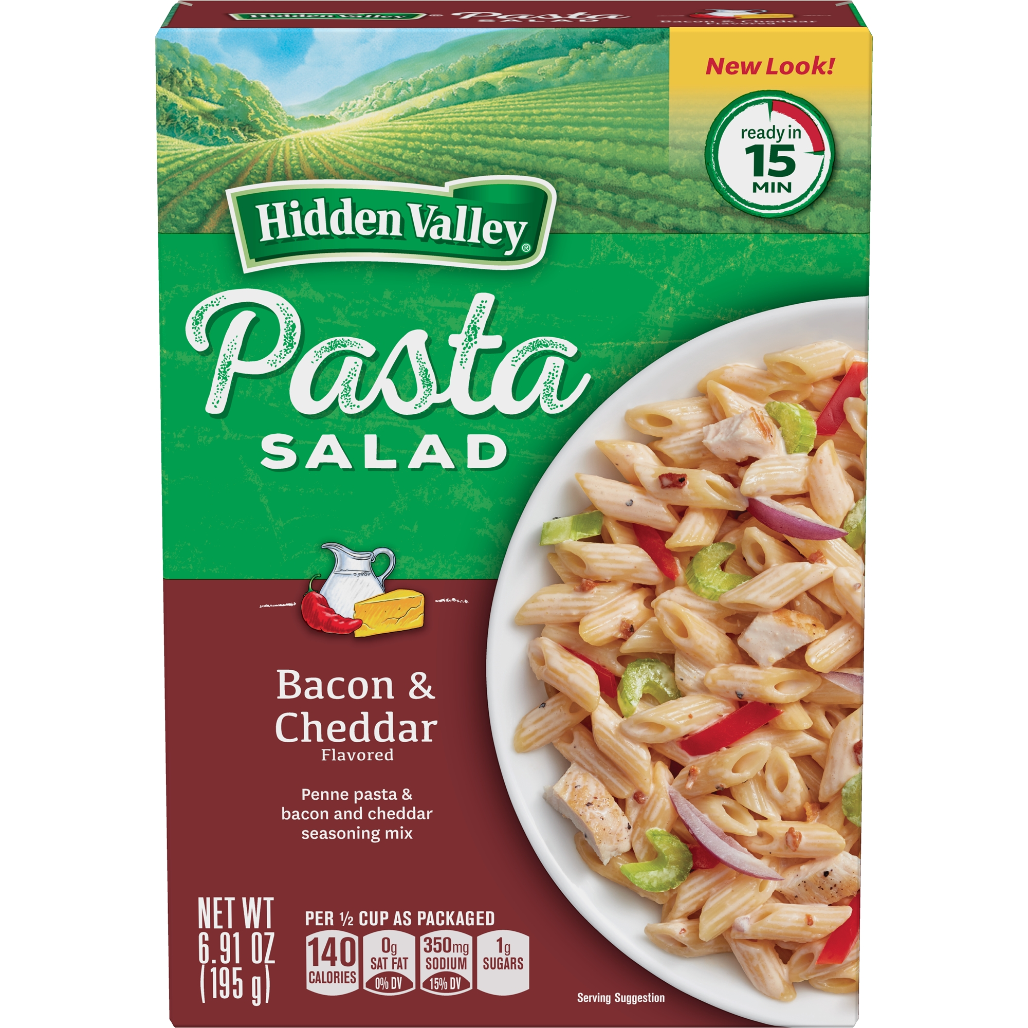 Hidden Valley Pasta Salad, Bacon and Cheddar, 6.91 Ounces by The HV Food Products Co.