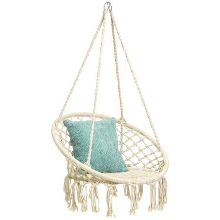 Best Choice Products Indoor/Outdoor Handmade Hanging Cotton Macramé Rope Hammock Lounge Swing Chair for Patio, Porch, Bedroom, Backyard w/ Fringe Tassels - Beige
