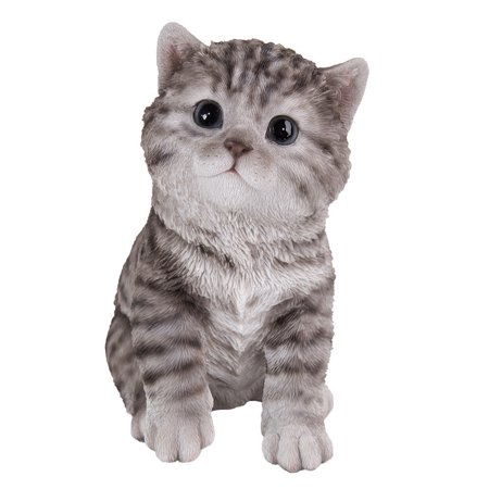 Silver Tabby Kitten (Animal Collection Life Size Grey Tabby Kitten Figurine Statue 6 5/8