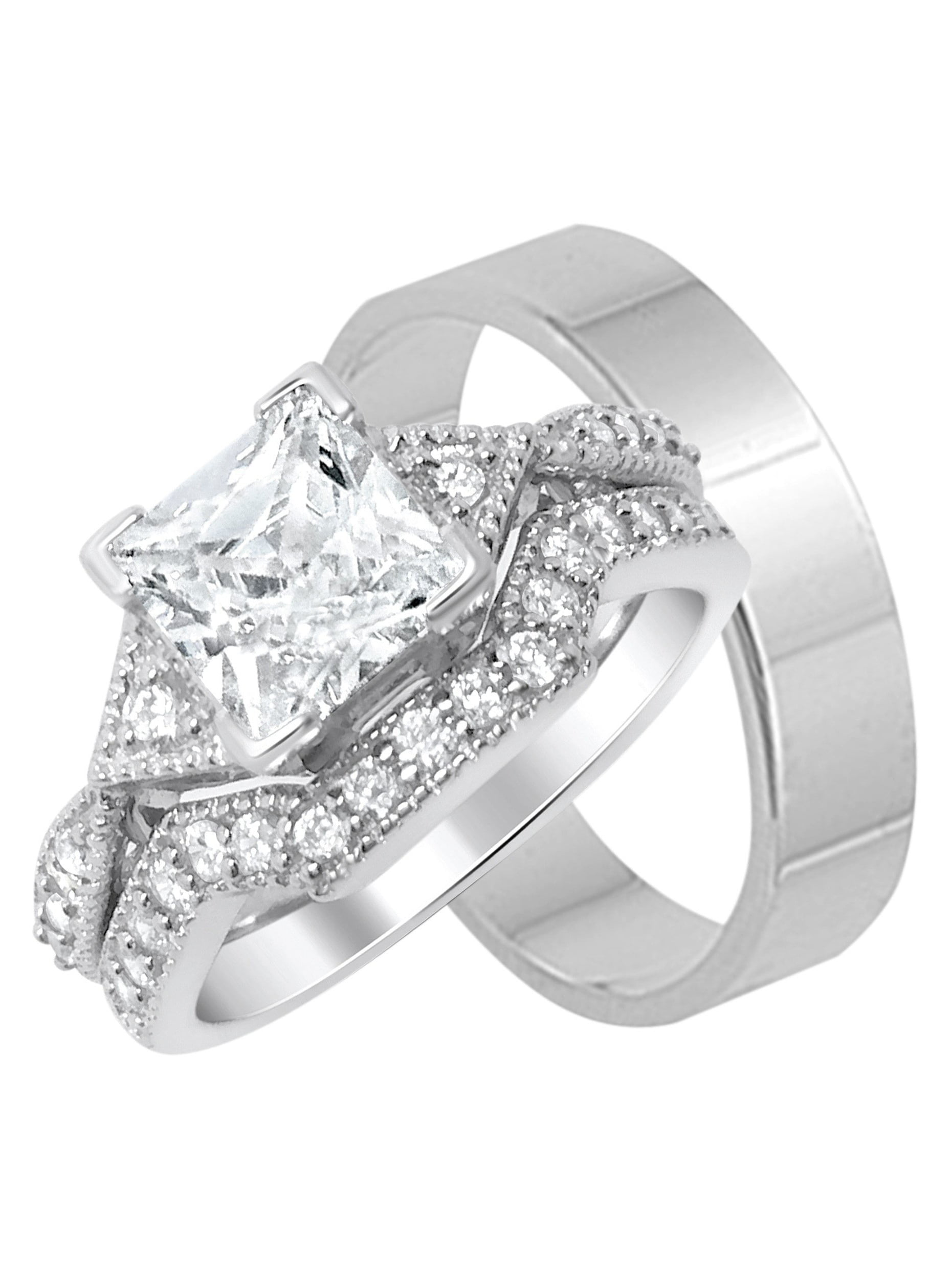 Laraso Co His Hers Silver Matching Wedding Bands Ring Sets For