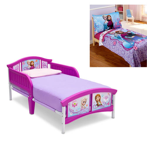Disney Frozen Toddler Bed with Bedding and Wall Art Value Bundle
