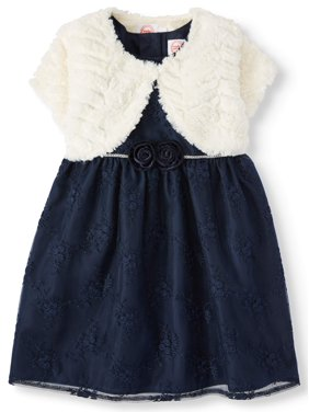 Wonder Nation Baby/Toddler Girl Embroidered Dress With Shrug