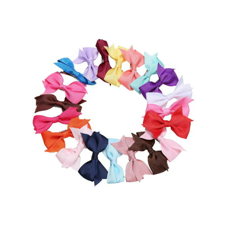 Clearance! 20 Pcs Girls Hair Clips Bow Ribbon Kids Alligator Clips, Multic Color RYSTE](Halloween Korker Hair Bows)