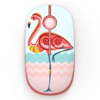 Jelly Comb Cute Flamingo Parrern 2.4G Slim Wireless Mouse with Nano Receiver, Less Noise, Portable Mobile Optical Mice for Notebook, PC, Laptop, Computer, MacBook (Flamingo)