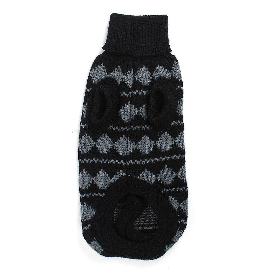 Unique Bargains Elastic Turtleneck Hand Knit Pet Dog Cat Poodle Clothes Sweater Gray Black XS