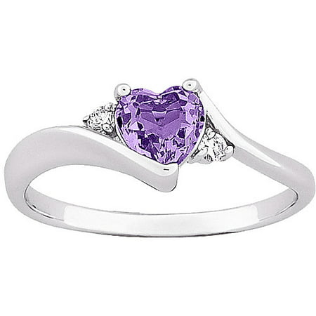 0 7 carat t g w amethyst heart with cz accent silver. Black Bedroom Furniture Sets. Home Design Ideas