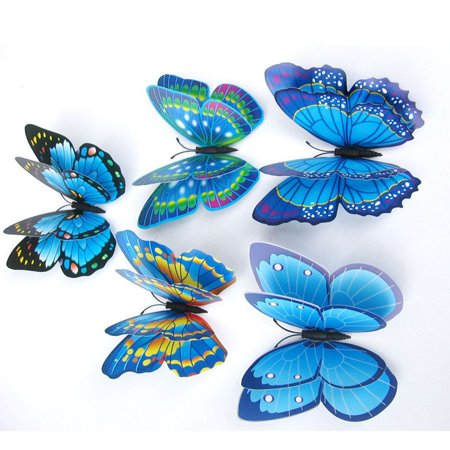 Double Happiness Stickers - 12 pcs Creative 3D Double Wings Butterfly Art DIY Wall Stickers for Home Decoration
