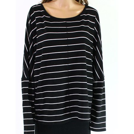 H By Bordeaux White Women's Medium Striped Knit Top