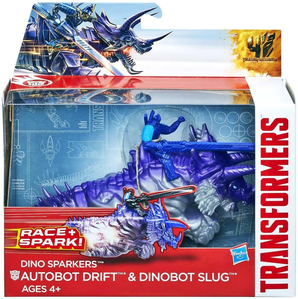 Transformers Age of Extinction Dino Sparkers Autobot Drift and Dinobot Slug Figures