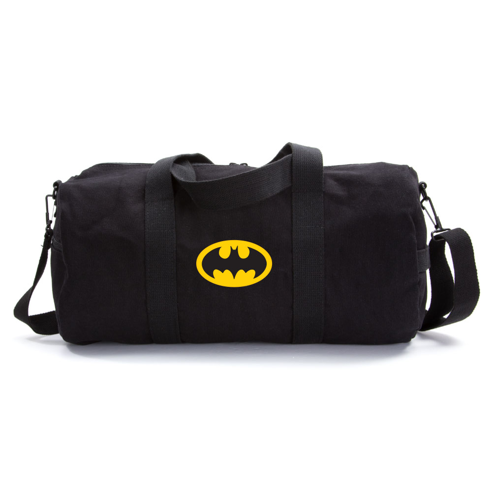 Batman Bat Symbol Logo Military Canvas Duffle Bag Travel Tote Sport Gym Duffel by Grab A Smile