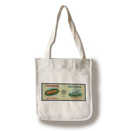 North Michigan Corn Label  100  Cotton Tote Bag   Reusable