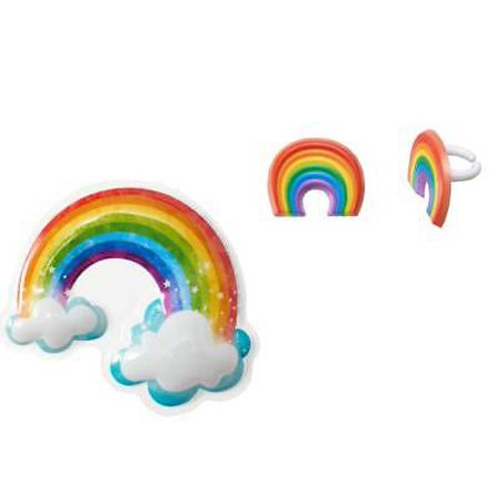 Rainbow with Clouds Pop Top Cake Topper PLUS 24 Rainbow Cupcake Rings - National Cake Supply - Halloween Cake Pops Nyc