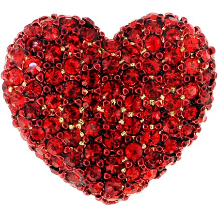 Red Heart Lapel Pin (Red Heart Valentines Crystal Lapel Pin )