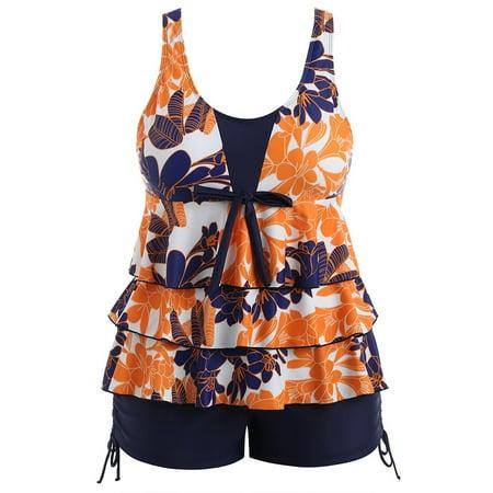 4a864992b29 ROSEGAL - Plus Size Floral Pattern Print Bowknot Embellished Set Womens  Swimsuits Tankini - Walmart.com