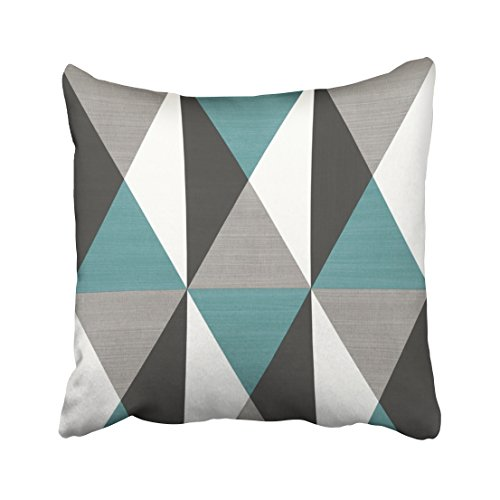WinHome Blue And White And Grey Rectangle Geometric Shapes Pattern Decorative Pillowcases With Hidden Zipper Decor Cushion Covers Two Sides 20x20 inches