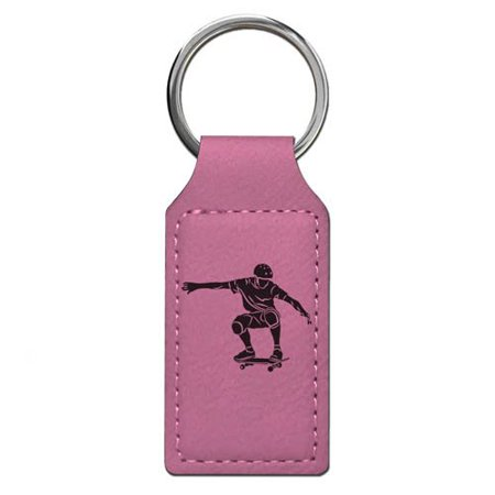 Keychain - Skateboarding - Personalized Engraving Included (Pink Rectangle)