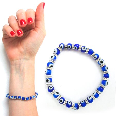 Evil Eye Glass Beads Bracelet Stretch Hamsa Lampwork 6mm Good Luck Kabbalah Blue](Blue Bead Bracelet)