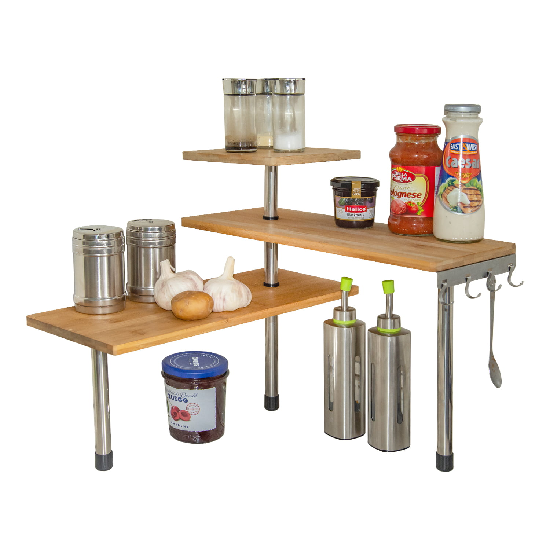 Mllieroo Bamboo 3-Tier Corner Shelf Kitchen Countertop ...