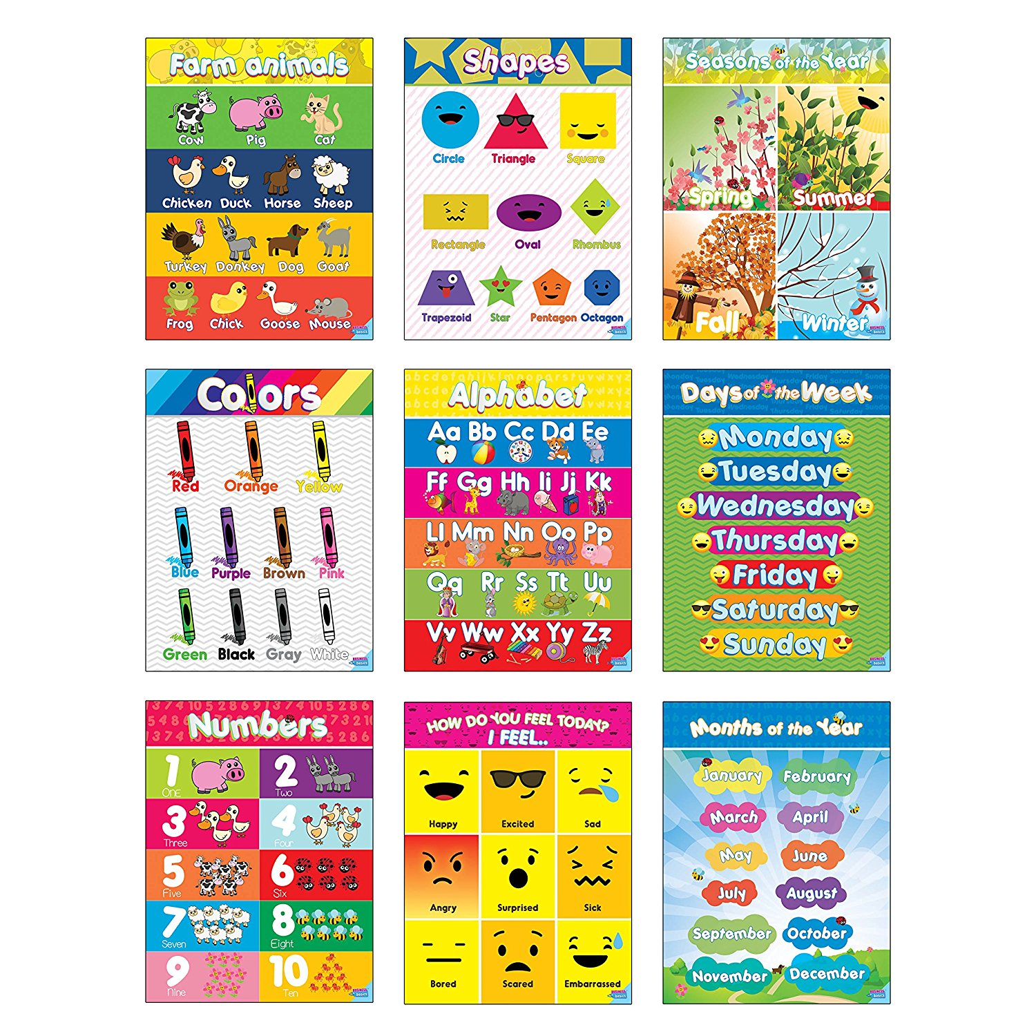 educational preschool posters for toddlers and kids