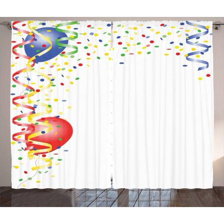 Kids Party Curtains 2 Panels Set, Children's Birthday Concept with Balloons and Confetti Happy Surprise Cheerful, Window Drapes for Living Room Bedroom, 108W X 84L Inches, Multicolor, by Ambesonne