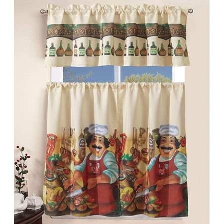 Sapphire Home 3 Piece Kitchen Curtain Linen Set With 2 Tiers 27 W Total Width 54 X 36 L And 1 Tailored Valance 54 W X 15 L Tucancy Italy Chef Pizza
