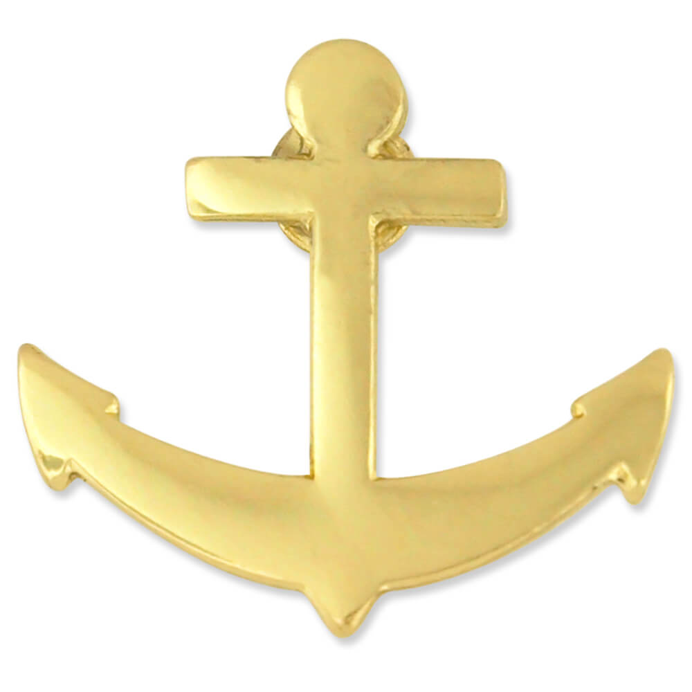 PinMart's Gold Plated Nautical Boat Anchor Lapel Pin by PinMart