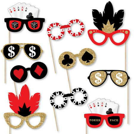 Las Vegas Glasses - Paper Card Stock Casino Party Photo Booth Props Kit - 10 Count](Jackpot Casino Parties)