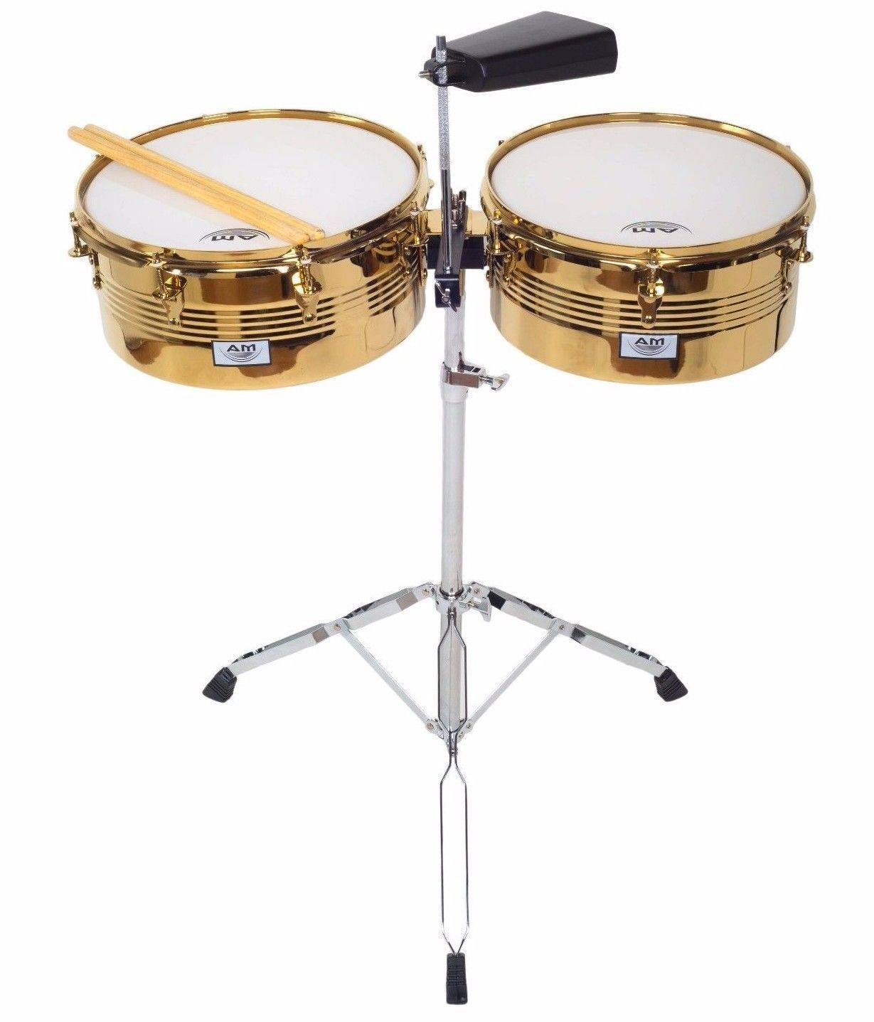 """AM Percussion 13"""" 14"""" Libre GX2 CHROME GOLD Timbale Kit with Stand and Cowbell by AM Percussion"""