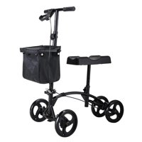 SANDINRAYLI 4 Wheel Steerable Knee Walker Scooter with Storage Basket, Alternative to Crutches