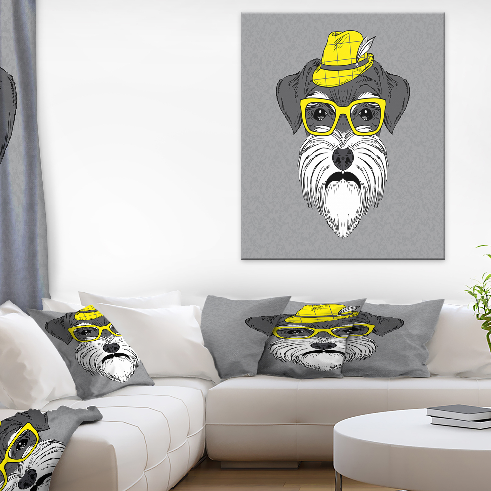 Schnauzer with Hat and Glasses - Contemporary Animal Art Canvas - image 3 of 3