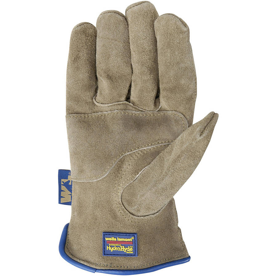 Wells Lamont Water Resistant and Breathable Suede Cowhide HydraHyde Leather Work Gloves, Wet Cement