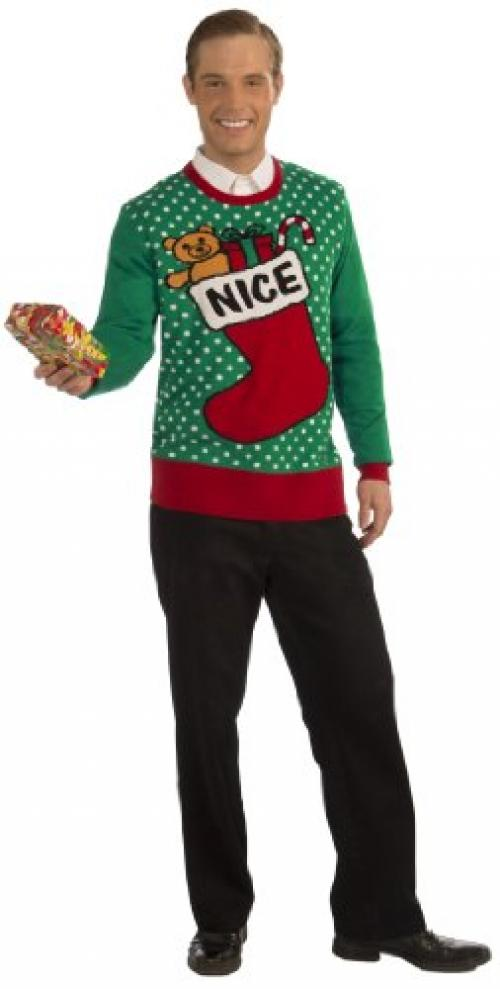 Forum Novelties Adult Nice Stocking Ugly Christmas Sweater, Multi, Large