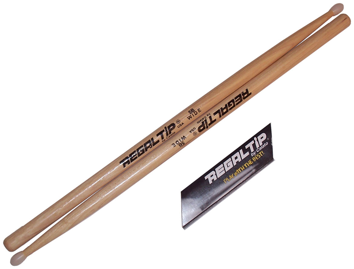 Regal Tip 125NTW Classic Series Hickory Nylon 5B Wide Taper Drumstick Pair by Regal Tip
