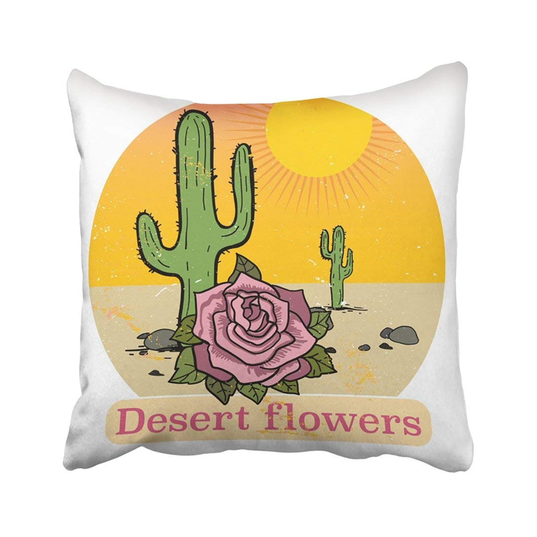 BPBOP Yellow Arizona Vintage With The Desert Cactus Rose And Text Flowers File Fully Great Texas Pillowcase Cover 16x16 inch