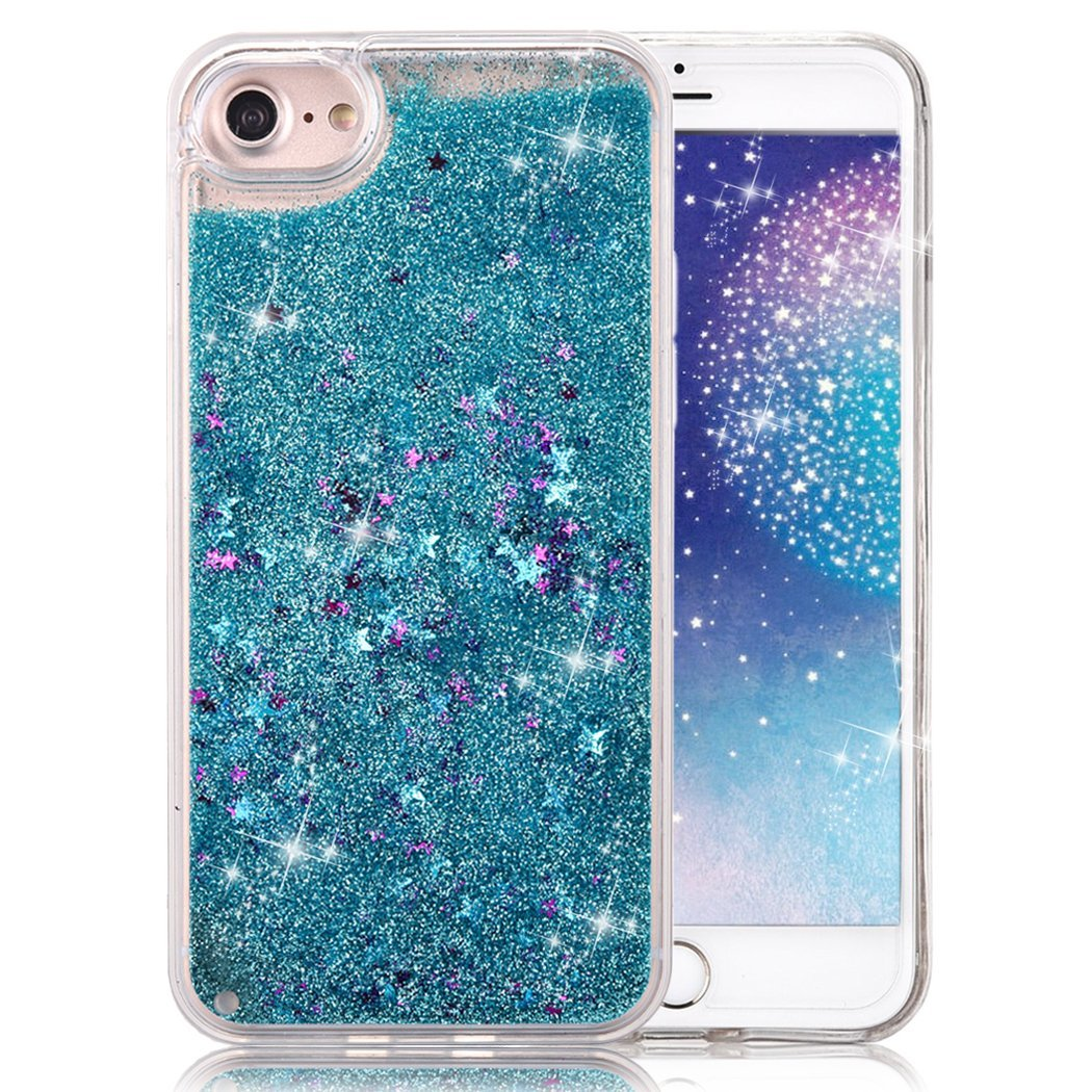 "For iPhone 7 Plus 5.5"" Blue Floating Stars Liquid Waterfall Sparkle Glitter Quicksand Case"