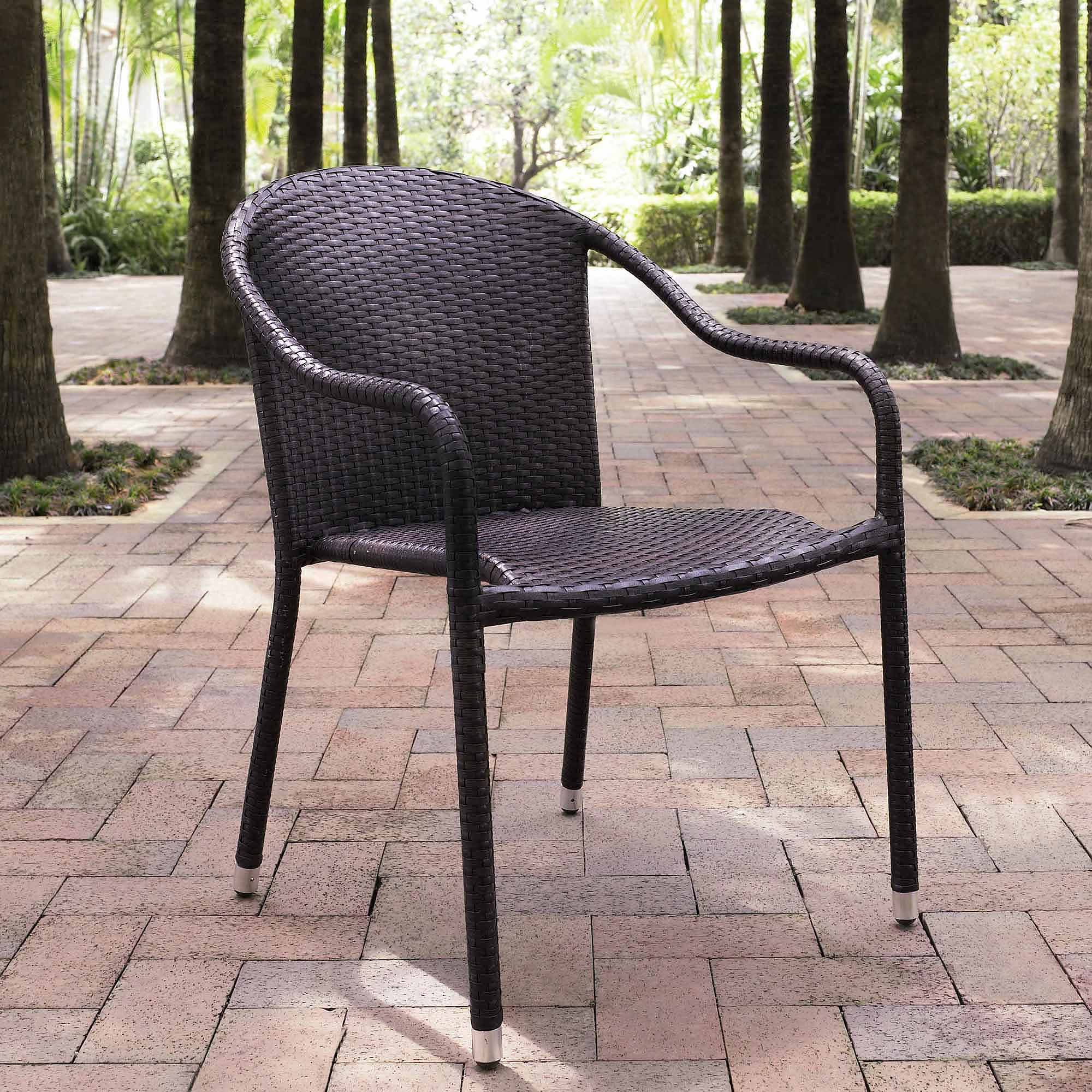 Crosley Furniture Palm Harbor Outdoor Wicker Stackable Chairs 4pk
