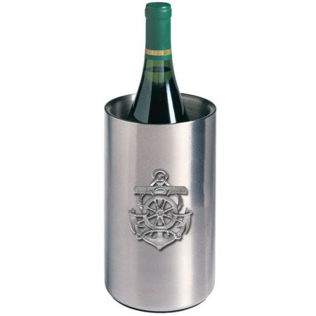 Anchor Wine Chiller   Double Wall Insulated Stainless Steel   Detailed Fine Pewter Medallion   1 Piece