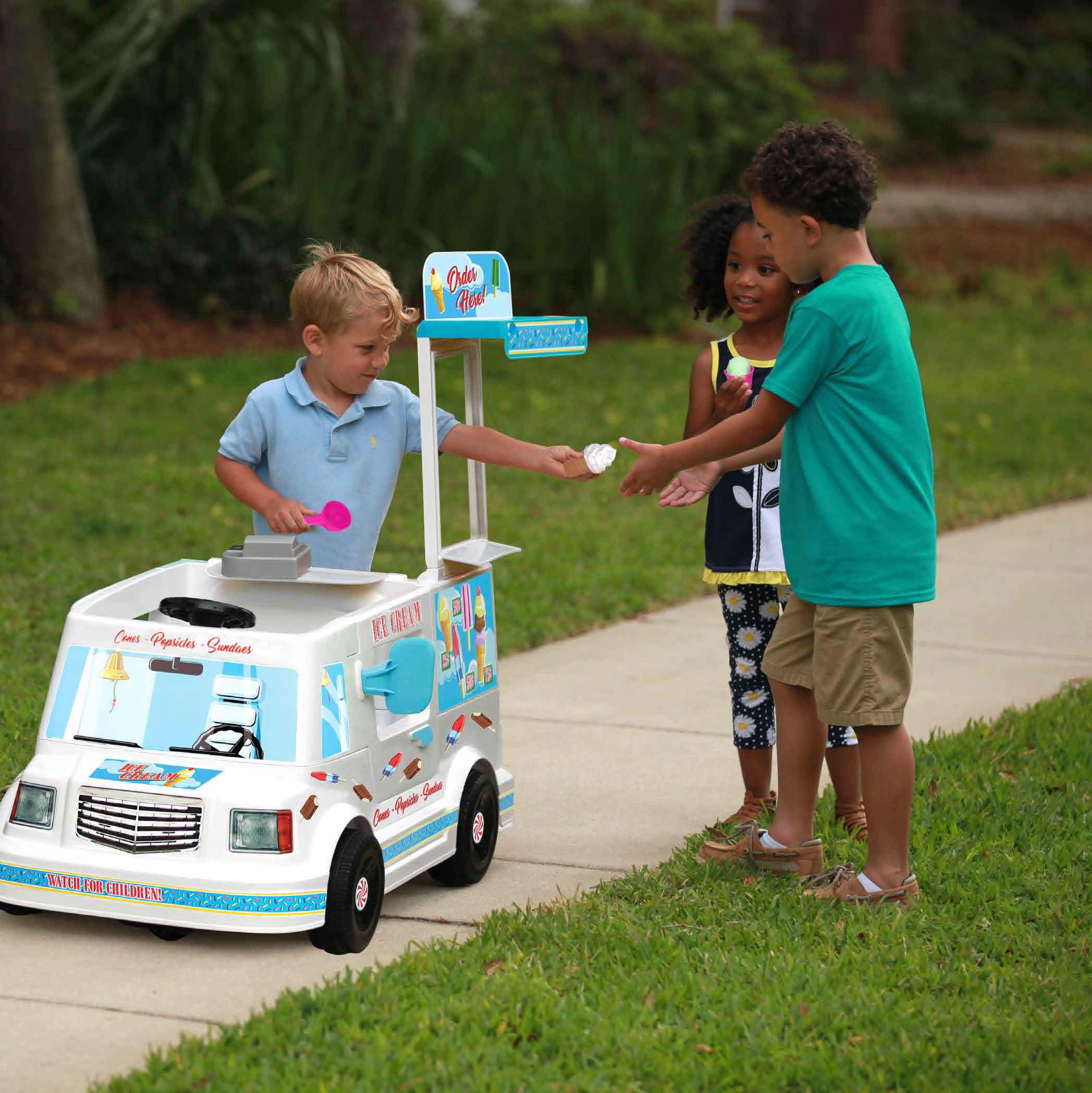 Rollplay 6 Volt EZSteer Ice Cream Truck Ride On Toy, Battery-Powered Kid's Ride On Car