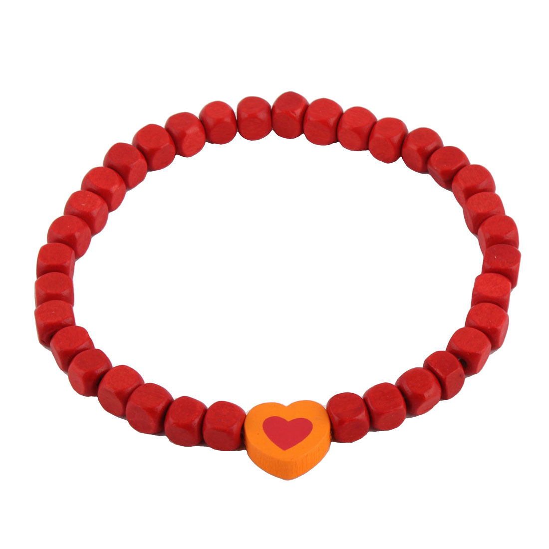 Dog Cat Wood Beads Heart Shaped Pendant Decor Stretchy Collar Necklace
